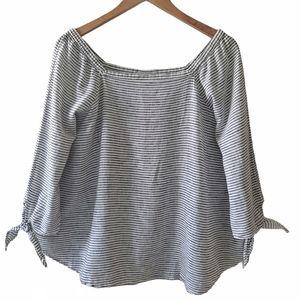 Liz Claiborne Linen Cotton Top XL Black White